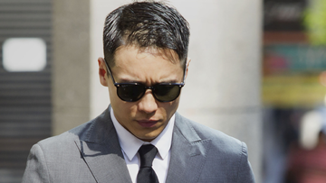 SMH NEWS: Chinese Actor Yunxiang Gao arrives at the Downing Centre Courts, in the Sydney CBD . October 29, 2019. Photo by James Alcock/Nine Media.