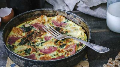 """Recipe:&nbsp;<a href=""""http://kitchen.nine.com.au/2017/01/13/17/38/weight-loss-bacon-and-spinach-omelette"""" target=""""_top"""">Weight loss bacon and spinach omelette</a>"""