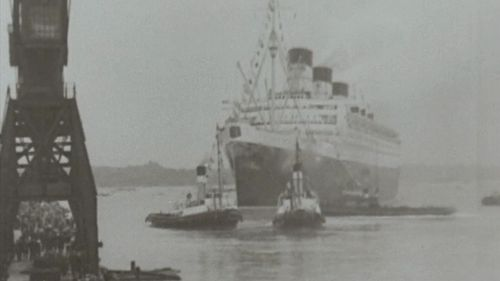 The Quen Mary set off on her maiden voyage in 1936. (9NEWS)
