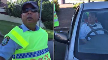The Police Officer was confronted by Mr Strik in later videos and (left) the driver of the silver Camry, who appeared not to speak English.