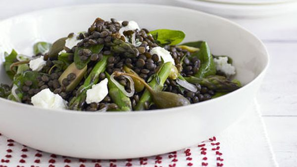 Green lentil, asparagus and feta salad