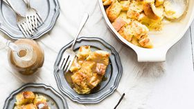 Bread and butter pudding with vanilla bean rum sauce