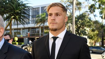 St. George Illawarra Dragons player Jack de Belin arrives at Wollongong Local Court in Wollongong.