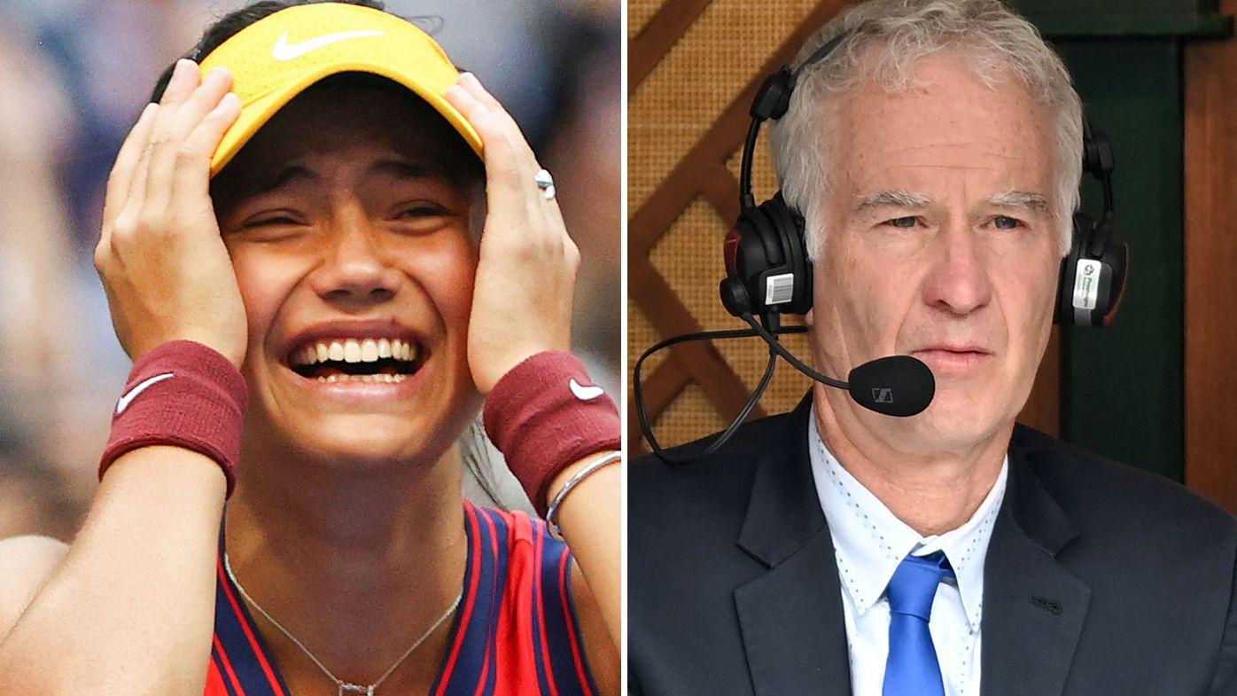 US Open champion Emma Raducanu and tennis legend John McEnroe.