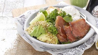 "Recipe: <a href=""https://kitchen.nine.com.au/2017/12/15/15/31/black-pepper-bacon-brekkie-bowl"" target=""_top"">Primo avocado bacon breakfast</a>"
