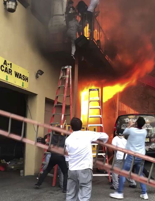 The fire broke out in a dance studio on Monday evening.