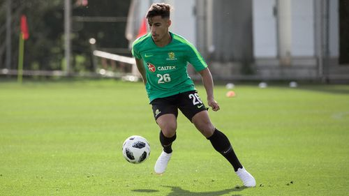 At 19, Arzani made his national debut just a few days ago and the support for the young player is running high. Picture: AAP.
