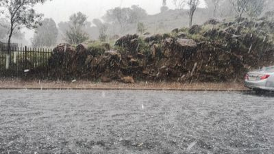 """<p>""""Snow or hail?"""" NT Chief Minister Adam Giles asked on Facebook.</p> <p>(Adam Giles)</p>"""