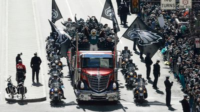 The Philadelphia Eagles parade up Broad Street. (AAP)