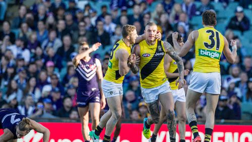 The Richmond Tigers flogged the Fremantle Dockers by 104 points. (AAP)