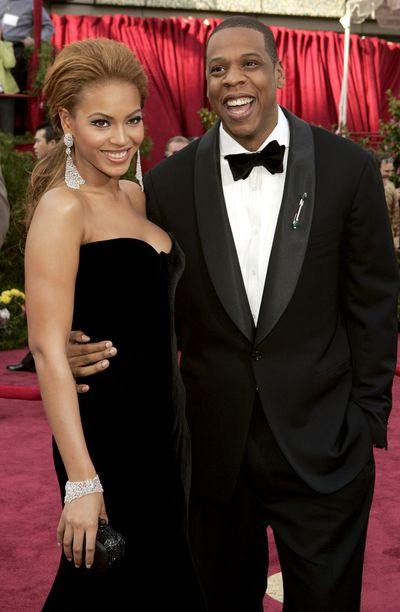 Jay- Z and Beyoncé in Versace at the 2005 Academy Awards