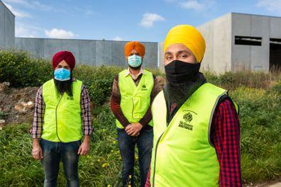 (left to right) Simranjit Singh, Avtar Singh and Manpreet Singh (vice president of Sikh Volunteers Australia).