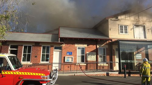 The blaze tore through the historic building yesterday afternoon. (Facebook via Busselton Museum)