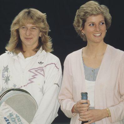 Princess Diana and Steffi Graf  after opening the Women's International Tennis Association European Office at the Vanderbilt Racquet Club in London, 10th June 1988