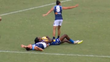 Footballer dislocates vertebrae in neck in on-field collision
