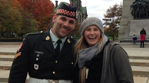 Slain soldier Nathan Cirillo poses for a tourist snap with Megan Underwood on Sunday. (Supplied)