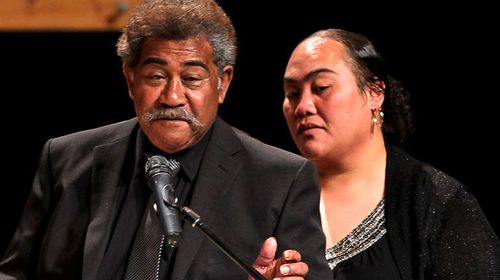 Tau Taufa and daughter Treicee Taufa deliver a eulogy at the memorial service of five members of their family. (AAP)