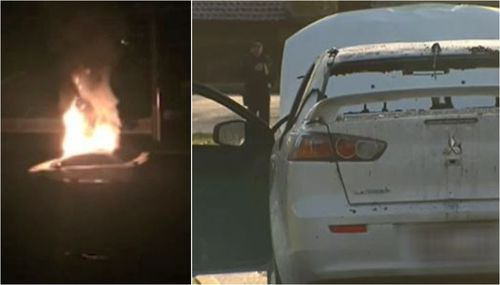 A car was set on fire on Carramar Drive, just five kilometres away, and police are now investigating if it is connected to the shooting. Picture: 9NEWS