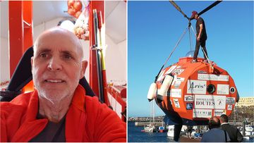 Jean-Jacques Savin has started a three month voyage across the Atlantic in a bright orange barrel.