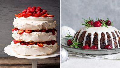 Pavlova and Christmas pudding
