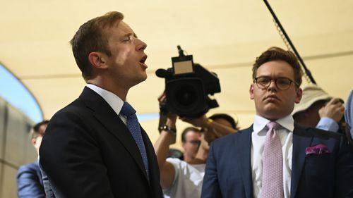 Journalist Jonathan Lea presses Bill Shorten at an Adelaide press conference.