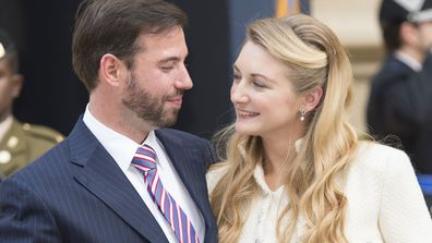 Prince Guillaume Of Luxembourg and Countess Stephanie de Lannoy arrive back at the Royal Palace after their civil wedding ceremony at the Hotel De Ville on October 19, 2012 in Luxembourg, Luxembourg