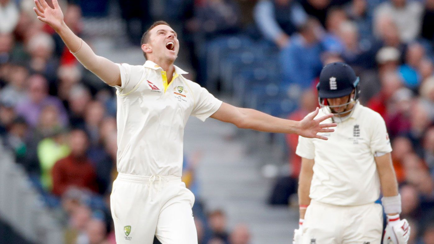 Hazlewood's delight after removing the English captain