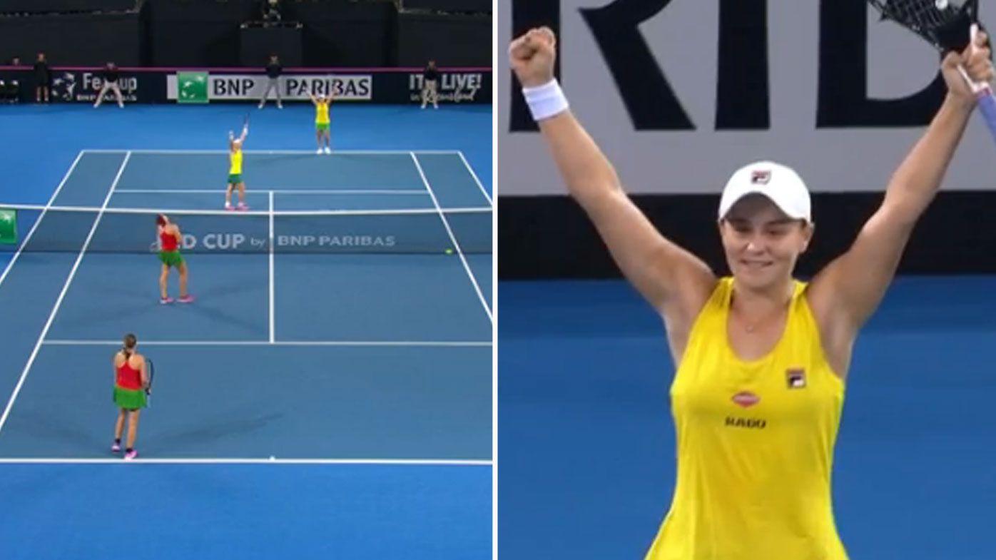 Ash Barty stars as Australia claim Fed Cup semi-final win over Belarus