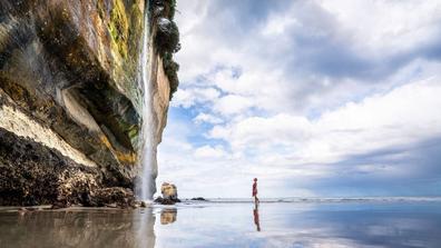 Tunnel Beach has a stunning waterfall.