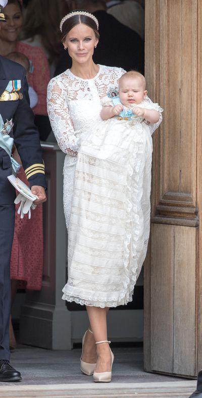 Princess Sofia of Sweden, wearing Swedish Designer Ida Sjöstedt, at the christening of Prince Alexander of Sweden at Drottningholm Palace Chapelin Stockholm, Sweden, September, 2016