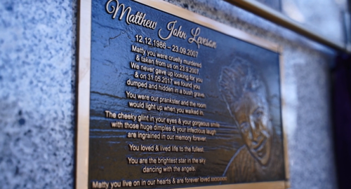 Matthew's plaque at the memorial.