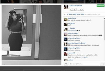 Kim boasted about her public bathroom selfie. Okaaaay.