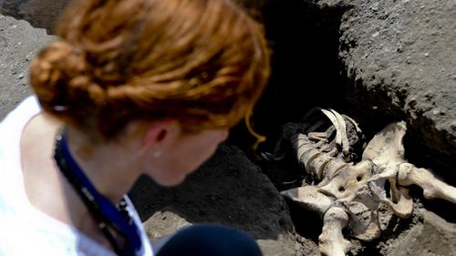 The man's thorax was crushed during the eruption and her was decapitated by the stone. Picture: AAP.