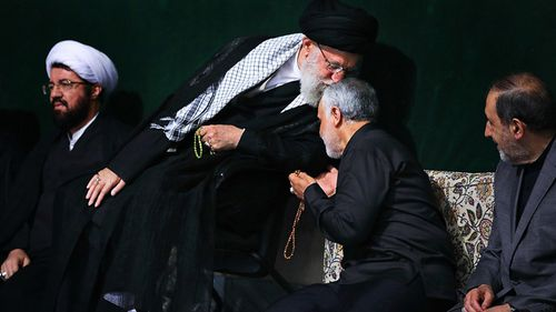 This 2018 photo shows Iran's Supreme Leader Ayatollah Khamenei kissing forehead of Qassem Soleimani, then leader of Iran's elite Quds Force.