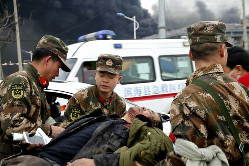 Survivors from a chemical plant explosion in China's east were evacuated from the site an thousands have been evacuated from the surrounding areas as a precaution.