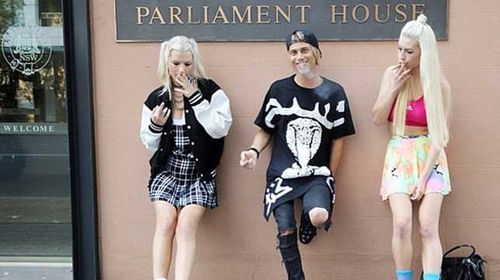 Jesse Willesee smoked marijuana outside Parliament House in Sydney last year as part of a 420 Day pro-weed protest. (Supplied)