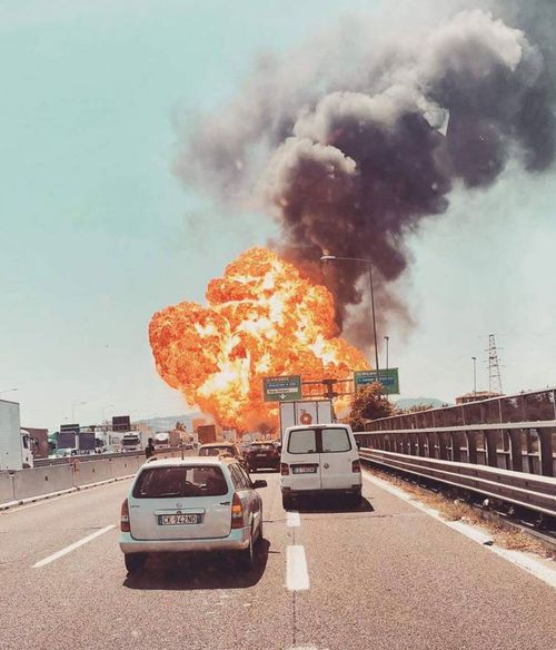 Images of the explosion were posted to social media. Picture: Twitter
