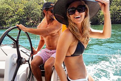 """The Bachelor's Tim and Anna are loving life… and who wouldn't with bodies like that and your very own boat! We love Anna's sun safe hashtags. Werk it, gal. <br/><br/>Instagram @annaheinrich1: """"This is life. Love a beautiful #sunny #sundaystay #sunsafe #sunscreen #sunglasses #shade #hat"""""""