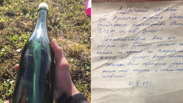 Tyler Ivanoff shows a bottle with a message that he found on the shores of western Alaska