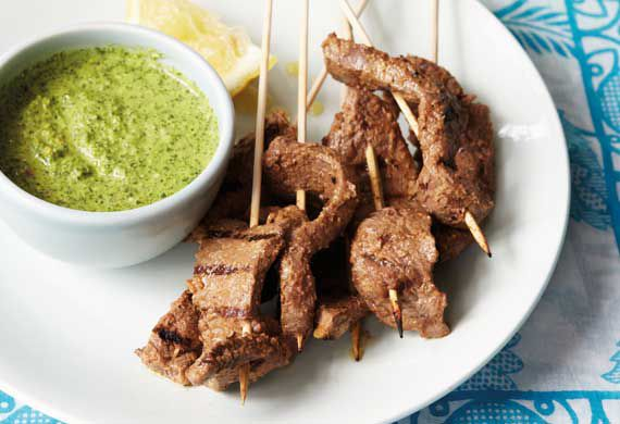 Anjum Anand's griddled Bihari beef skewers