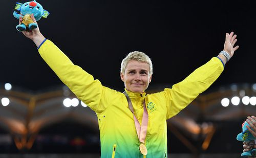 Kathryn Mitchell won gold in the women's javelin. (AAP)
