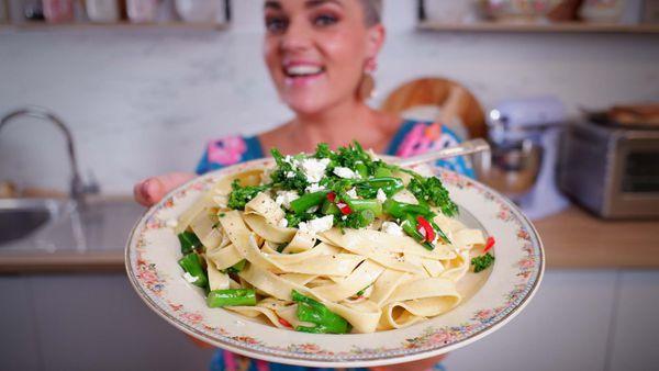 Jane de Graaff's easy fifteen minute broccolini and zesty vinaigrette pasta