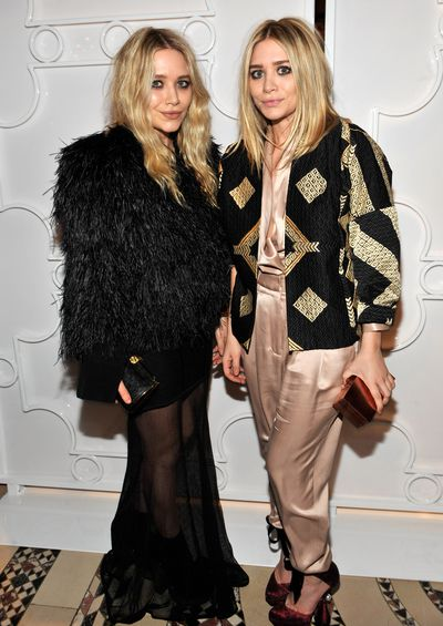 Mary-Kate and Ashley Olsen in Zac Posen at the amfAR New York Gala in February, 2010