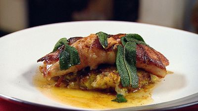 Turkey wrapped in bacon and sage with bubble and squeak