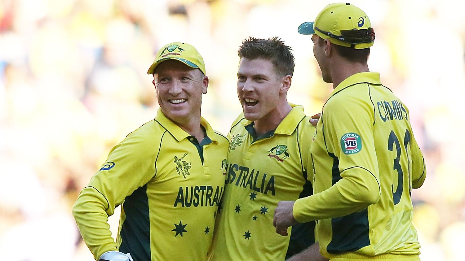 Brad Haddin gives Grant Elliott a send off during the 2015 Cricket World Cup final.