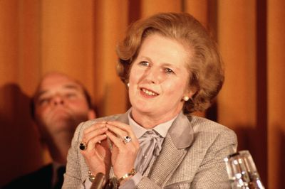 Margaret Thatcher in 1979 delivering pussy-bow blouse power.