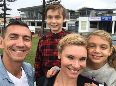 Chloe Maxwell with husband Mat Rogers and their children Max and Phoenix.