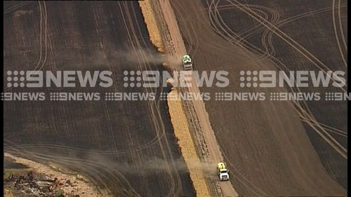 A grassfire has threatened the South Australian town of Maitland.