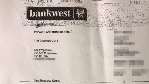 The bank denies any wrongdoing, citing a faxed letter sent to Mr Lakeman that they claim was printed at his home prior to his sensitive documents being found around 3500km away in another state.