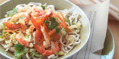 Prawn & noodle salad with ginger dressing